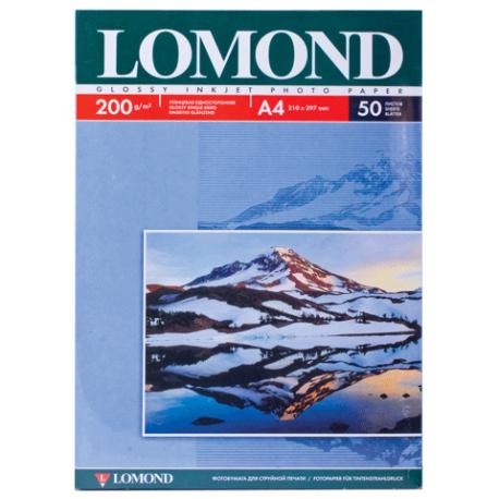Глянцевая односторонняя фотобумага, А4, 200 гр., (50 л.), Lomond