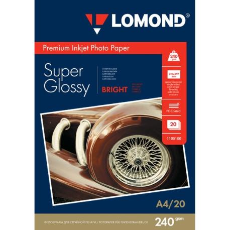 Суперглянцевая ярко-белая фотобумага, A4, 240 гр., (20 л.)